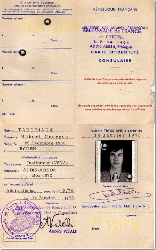 A11-HT C.d'Identité consulaire Addis-Abeba 14.01.78-